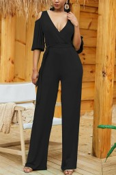 Black Cold Shoulder Half Sleeve Tied  Jumpsuit