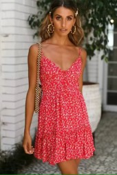 Red Floral Button Up Spaghetti Straps Casual Dress