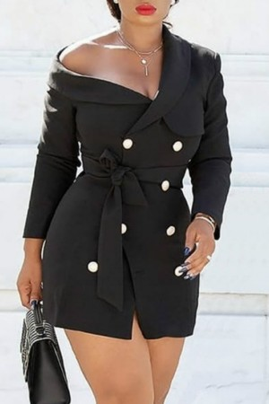 Blazer Mini Dress Black Office Ladies Off Shoulder Double Breasted With Sashes Slim Bodycon Short Dress