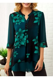 Button Detail Split Neck Large Floral  Blouse