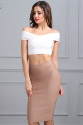 Bandage Skirt Celebrity Party Skirts Kneelength Khaki Blue Red White Black Nude Bodycon Skirt