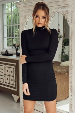 Party Dress Solid Long Sleeve Bodycon Autumn Workwear Casual Dress