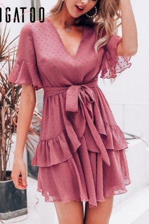 Vneck Ruffle Polka Dot Summer Dress Layer Chiffon Sundress