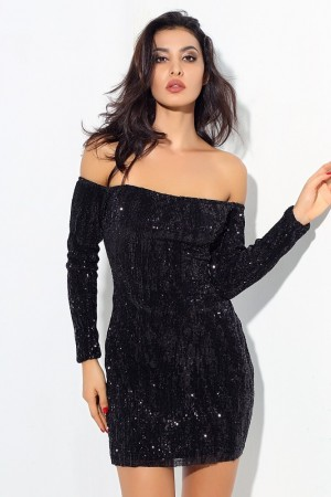 Word Collar Elasticity Sequins Bodycon Dress
