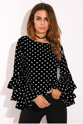 Polka Dot Blouse Summer Ladies Tops Ruffle Long Sleeve Chiffon Shirts Plus Size Blusas