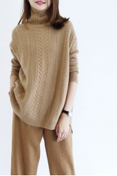 Autumn Winter Sweaters Turtleneck Cashmere Sweater Knitted Pullovers Loose Tops