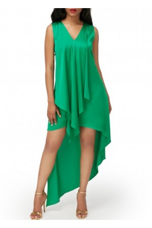 Sleeveless Asymmetric Hem V Neck Green Dress