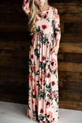 Pink Floral Pattern Pocket Decor Casual A Line Maxi Dress