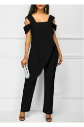 Wide Strap Black Open Back Overlay Jumpsuit
