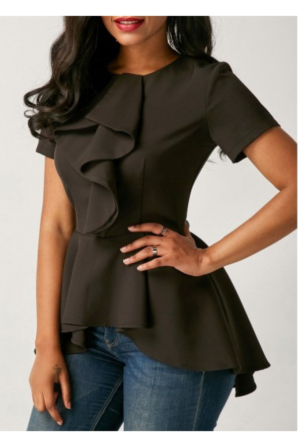772ff4ae62fab4 Asymmetric Hem Black Flouncing Short Sleeve Blouse