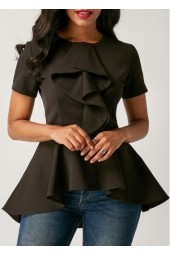 Asymmetric Hem Black Flouncing Short Sleeve Blouse