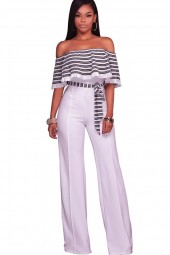 White Stripe  Off Shoulder Ruffled  Wide Leg Jumpsuit