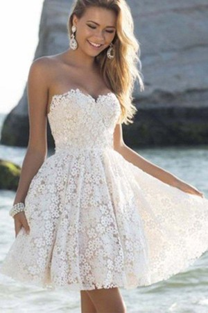 White Strapless Sweetheart Lace  A Line Party Dress