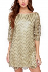 Gold Round Neck Hollow Out Sequins Scalloped Hem Shift Dress