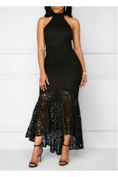 Fishtail Sleeveless Black Sheath Lace Dress