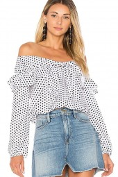 White Off Shoulder Polka Dot  Ruffled Knotted Long Sleeve  Blouse