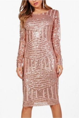 Pink Mesh Sparkle Sequined Backless Long Sleeve  Bodycon Dress