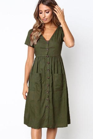 Army-green V Neck Short Sleeve Button Pocket Casual Midi Dress