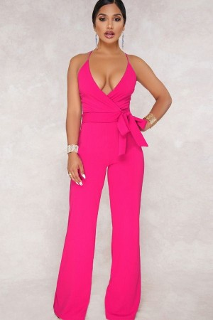 Fuchsia Plunging Sleeveless Wrap Tied Casual Jumpsuit