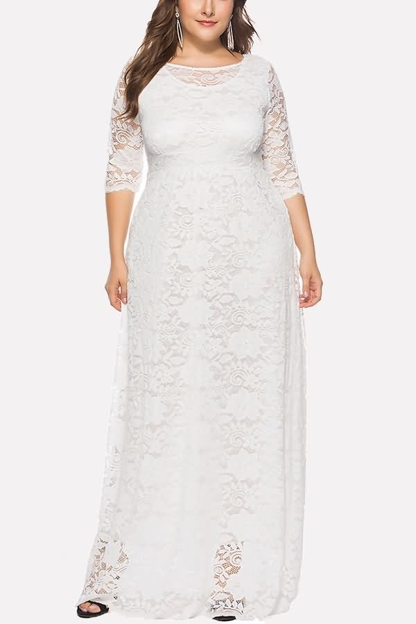 White Half Sleeve Pocket Casual Plus Size Lace Dress