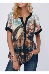 Curved Hem Giraffe  Short Sleeve Blouse