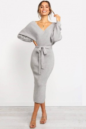 Gray Wrap Tied Slit Long Sleeve Casual Bodycon Sweater Dress