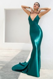 Green Deep Vneck Open Back Slim Flash Material Maxi Dress Lm