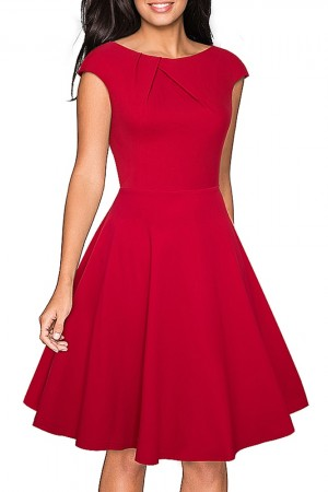 Elegant Summer Solid Color Ruched Cap Sleeve Casual Wear To Work Office Party Fitted Skater Aline Swing Dress Ea