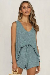 Light blue Crochet V Neck Drawstring Casual Tank Top Shorts Set