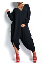 Black Slit Sleeve Casual Loose Jumpsuit