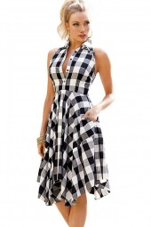 Black White Lapel Plaid Pattern Sleeveless Chic Shirt Dress