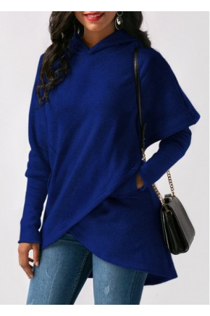 Long Sleeve Asymmetric Hem Royal Blue Pocket Hoodie
