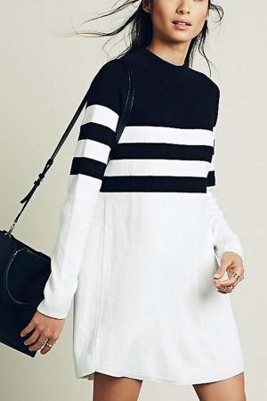 Black White Stripe  Long Sleeve Shift Sweater Dress