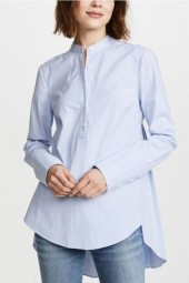 Light Blue Striped Button Up Pleated Long Sleeve Asymmetric Casual High Low Shirt