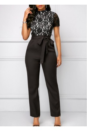 Short Sleeve Lace Bodice Belted Jumpsuit