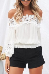 White Crochet Hollow Out Off Shoulder Cute Blouse