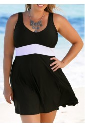 Scoop Back Black Plus Size Swimdress and Panty