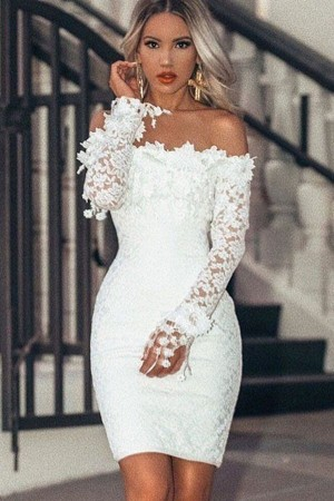 White Off Shoulder Long Sleeve  Lace Bodycon Dress