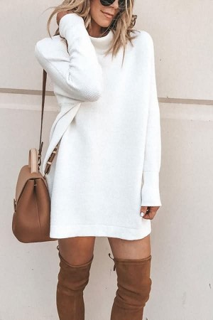 White Kniited Mock Neck Long Sleeve Casual Sweater Dress