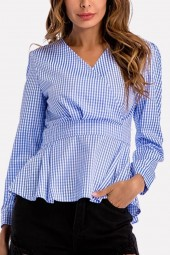 Blue Gingham V Neck Wrap Peplum Long Sleeve Casual Blouse