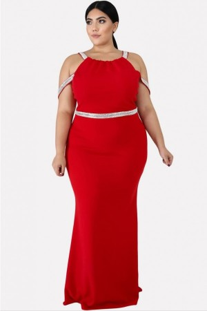 Red Contrast Strappy Sleeveless  Plus Size Maxi Bodycon Dress