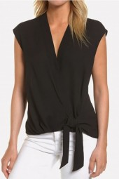 Black Wrap Knotted Surplice Sleeveless Casual Blouse