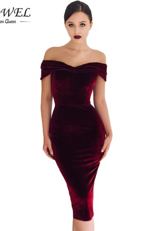Burgundy Off Shoulder Velvet Party Dress Elegant Black Ruched Bodycon Dress Strapless Midi Evening Gown