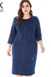 Plus Size Denim Dress High Quality Ladies Vintage Elegant Noble Party Large Size Fall Dress