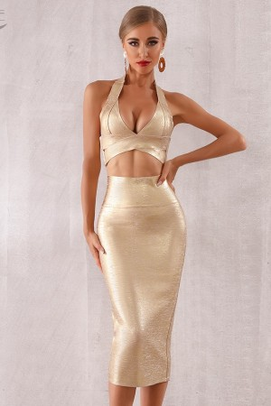 Summer Bodycon Bandage Sets Dress Vestidos Two Pieces Set Top Gold Neck Celebrity Evening Party Dress