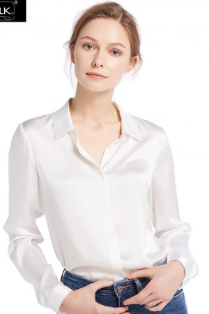 Shirts Blouse Momme Basic Consealed Placket Silk Charmeuse Glossy Sophisticated Knitting Free Shipping