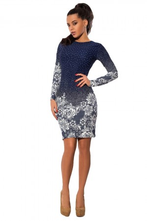 Autumn Dress Neck Polka Dot Floral Pencil Dress Long Sleeve Bodycon Mini Night Club Party Dress Vestido