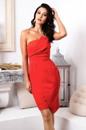 Red Strapless Irregular Cross Bodycon Party Dress Lm