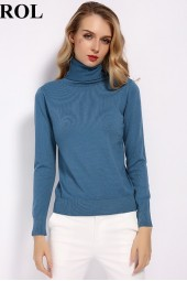 Wool Turtleneck Sweater Fall Winter Jumper Render Knit Basic Pullover Solid Color Ol Knitted Tops