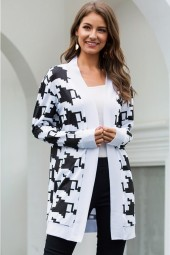 Black white Houndstooth Open Front Long Sleeve Casual Sweater